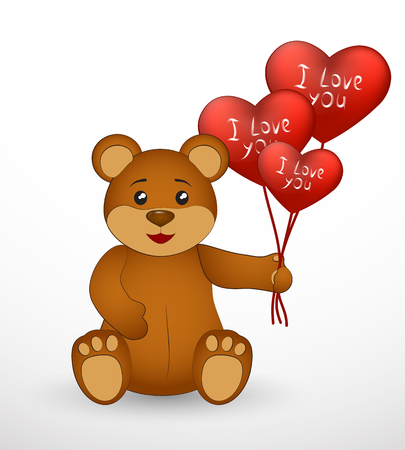 Brown teddy bear with red balloons. Vector illustration