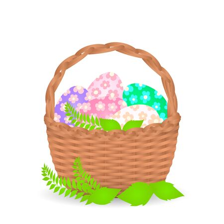 Basket with Easter eggs on a white background. Vector illustration. Ilustracja