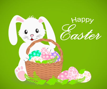 Happy Easter white rabbit and basket with Easter eggs. Vector illustration. Illustration