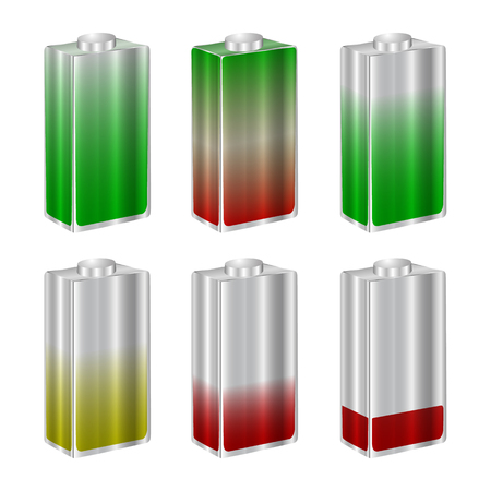 A set of colorful batteries isolated on a white background.