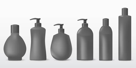 Collection grey plastic bottles on a white background. Illustration