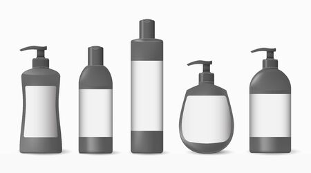 Collection of grey and white plastic bottles with a label on a white background. Illustration