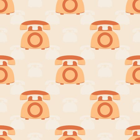 Colorful retro phone. Seamless pattern with vintage telephones. Illustration