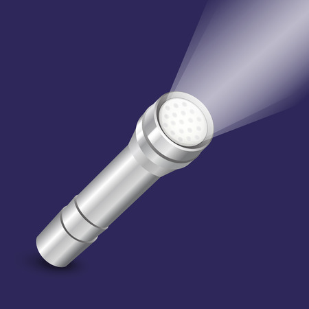 Realistic metal flashlight. Vector illustration.