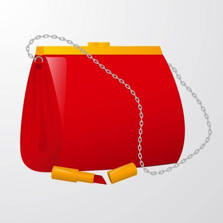 Red womens handbag with lipstick