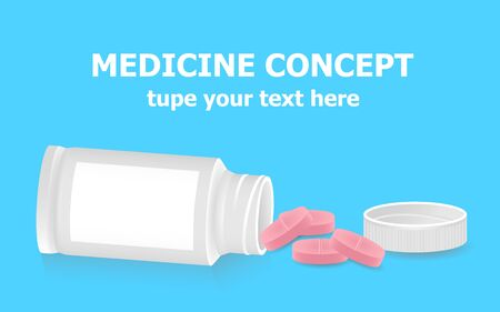 Pills poured from a bottle on a blue background. Medicine concept Vector illustration.