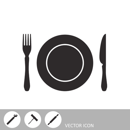 Plate, fork and knife. Cutlery icon. A set of icons in the style of flat design.