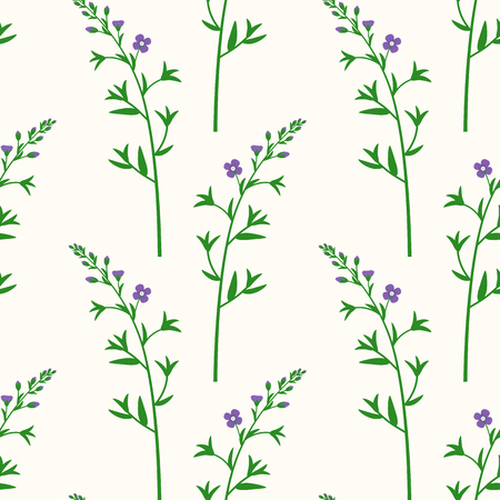 Wildflowers. Botanical seamless pattern with branches of the field flower.
