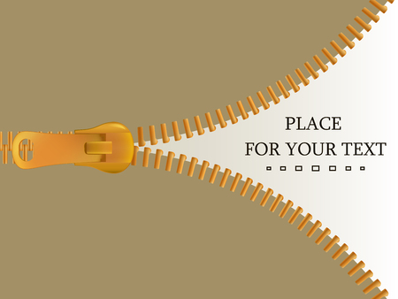 Zipper clasp of clothes. Background with an open zip with a place for your text.