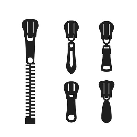 Zipper clasp of clothes. A set of zipper icons in the style of flat design.