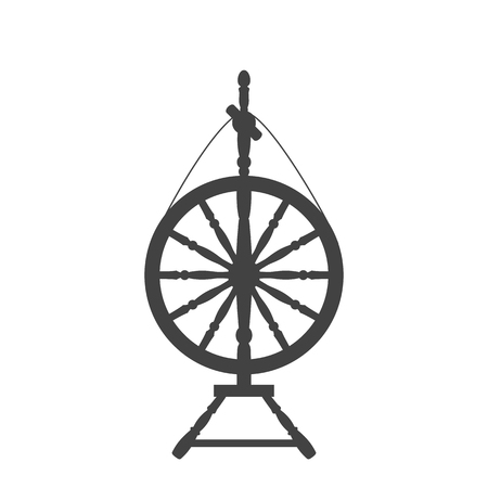 An antique spinning wheel icon in the style of a flat design. Illustration
