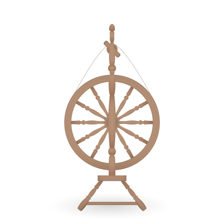 Wooden antique spinning wheel. Vector illustration isolated on white background. Illusztráció