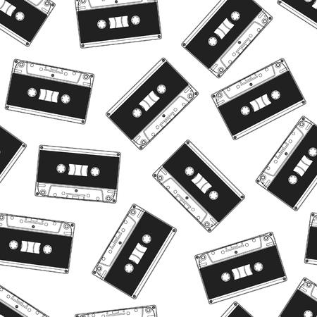 Cassette seamless pattern. Vintage background. Ilustração