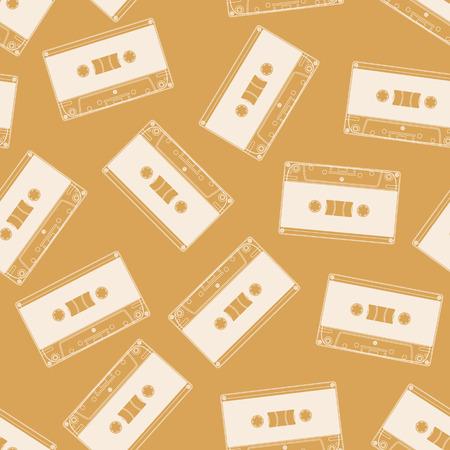 Cassette seamless pattern. Vintage orange background.