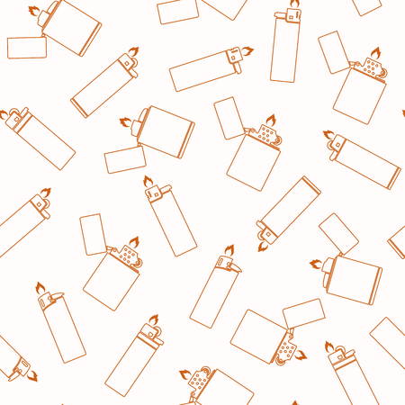 Lighter seamless pattern on a white background in a linear design style. Background with lighters. Archivio Fotografico - 105700757