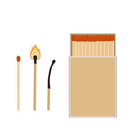 Matches. Matchbox, burning match and burned match. Vector illustration isolated on white background.