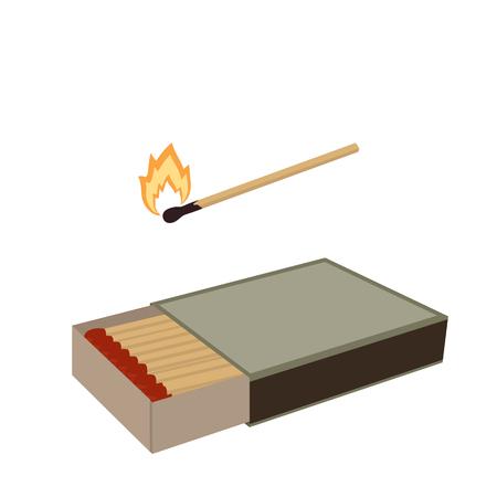 Allumettes. Ouvrez une boîte d'allumettes et une allumette enflammée. Illustration vectorielle isolée sur fond blanc.