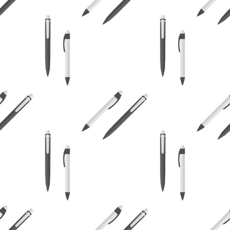 Pen seamless pattern on white background. Background with stationery writing tools.
