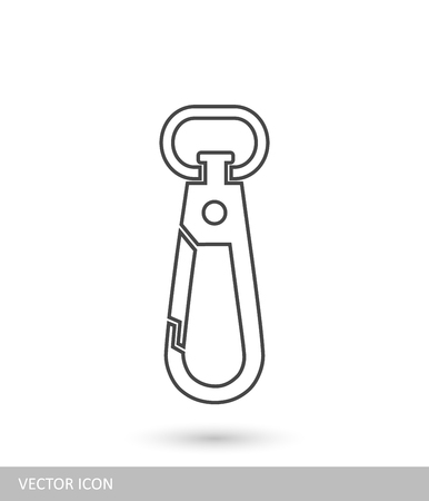Carabiner icon in the style of linear design.