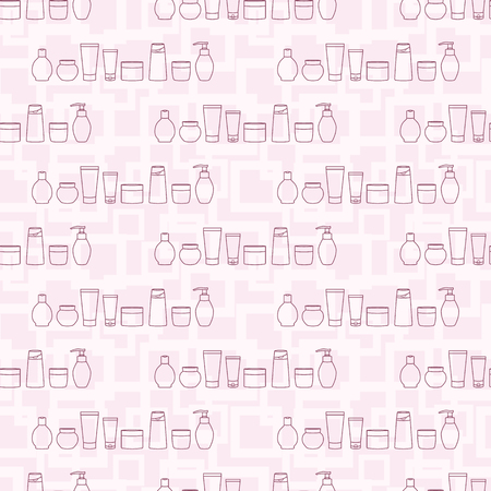 Cosmetic jars. Seamless fashionable pattern with various cosmetic bottles.