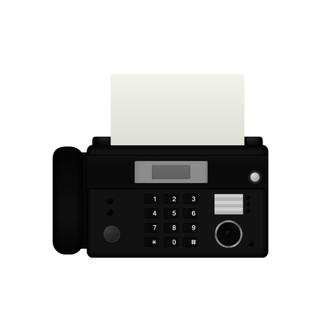 Fax device. Vector illustration isolated on white background. Иллюстрация
