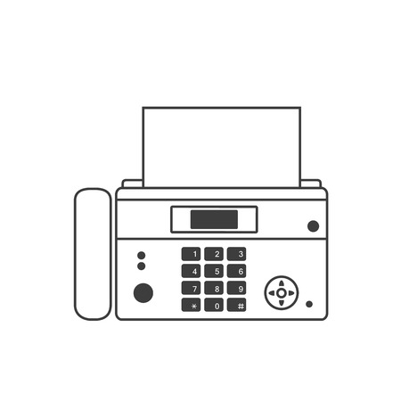 Fax icon. A fax icon in the style of a linear design.