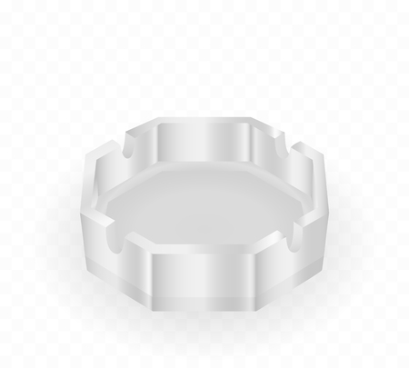 Glass ashtray isolated. Realistic vector illustration.