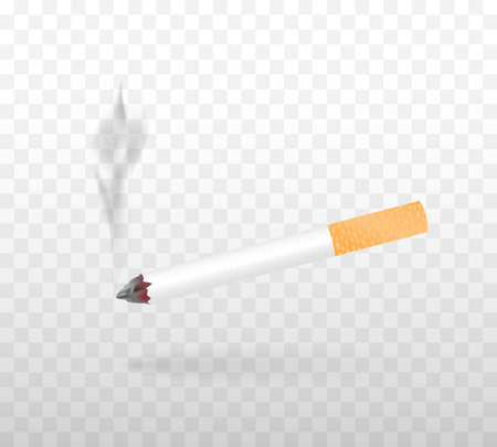 A smoking cigarette. Realistic vector illustration isolated on a transparent background.