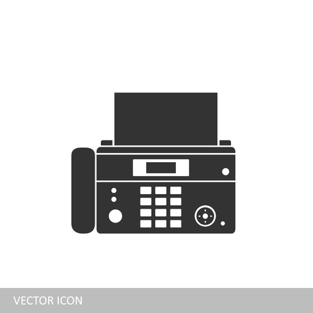 Phone fax icon. A fax icon in the style of a flat design. Illustration