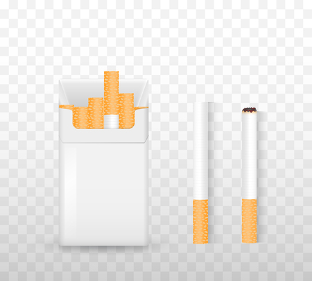 Opening a pack of cigarettes, light a cigarette on a transparent background. The concept of drug dependence. Set for smokers. Realistic vector illustration.