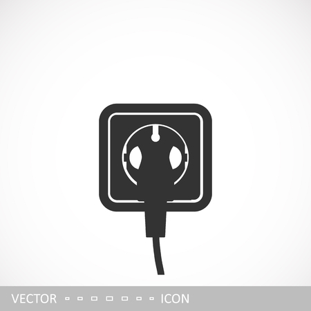 Power socket. Vector icon of a rosette in the style of a flat design.