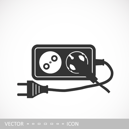 Extension cord icon in a flat design. Vector illustration Stok Fotoğraf - 105229024