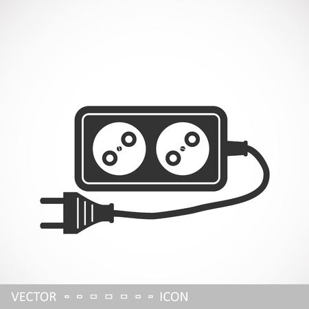 Extension cord icon in a flat design. Vector illustration Archivio Fotografico - 105229026