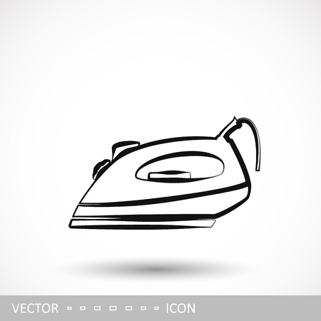 Iron icon. An electric iron icon in the style of a linear design.