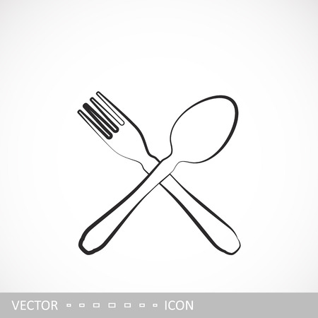 Fork and spoon icon. Restaran icon in the style of linear design. Illustration