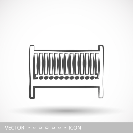 Childrens bed icon in the style of linear design. Furniture design. Vector illustration.