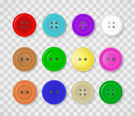A collection of buttons for clothes of different colors and designs. Vector illustration isolated on a transparent background.