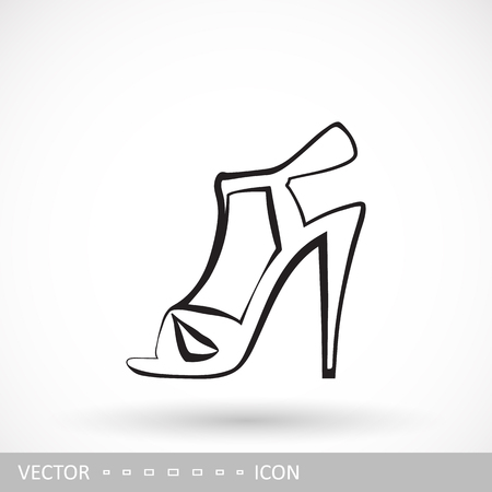 Female sandals with high heels icon. Icon of womens shoes in the style of linear design.