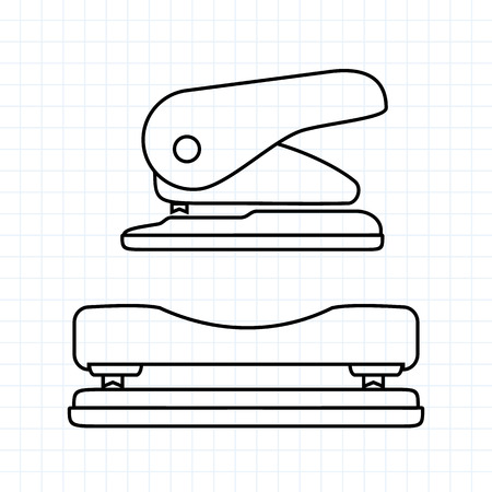 Hole puncher icon front view and side view