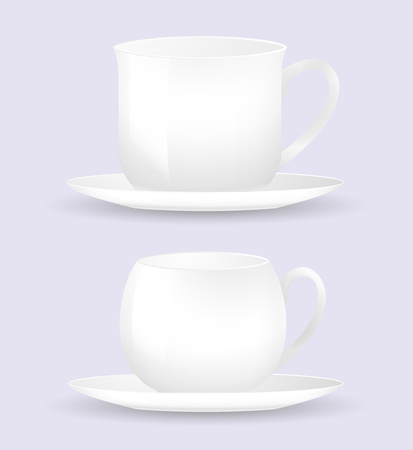 Two white coffee cup and saucer