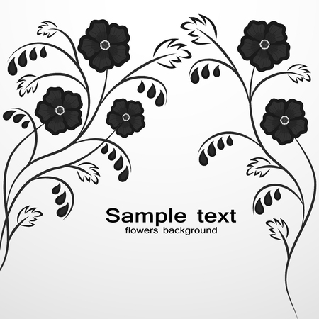 Simple black and white floral background with space for text