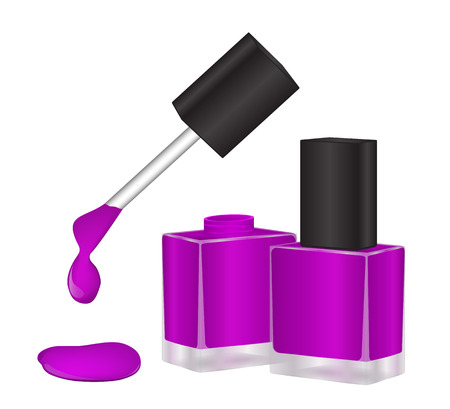 Purple nail polish bottle in a transparent, open and closed. A drop of ink dripping from the brush. Vector illustration.