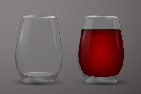Transparent glass with red wine.
