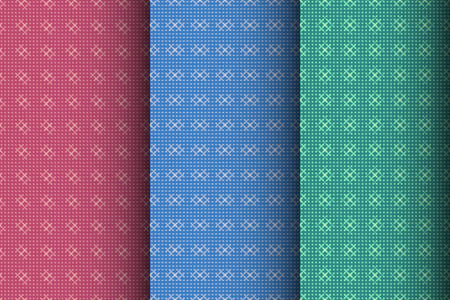 Set of geometric seamless patterns. Abstract color vector background