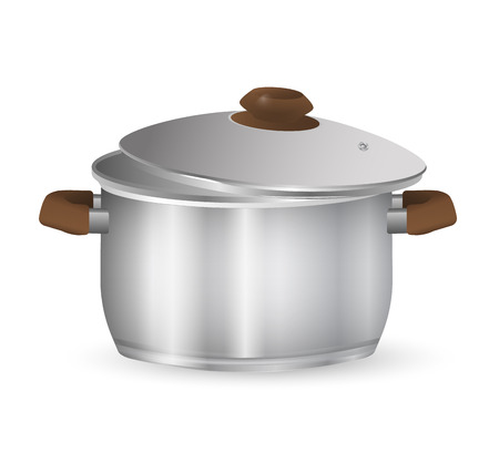 Metal pot with lid. A stainless pan isolated on a white background. Vector Illustration
