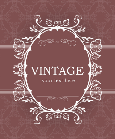 Vintage background with decorative frame. Elegant design element template with place for your text. Floral border. Lace decoration for birthday greeting card, wedding invitation.