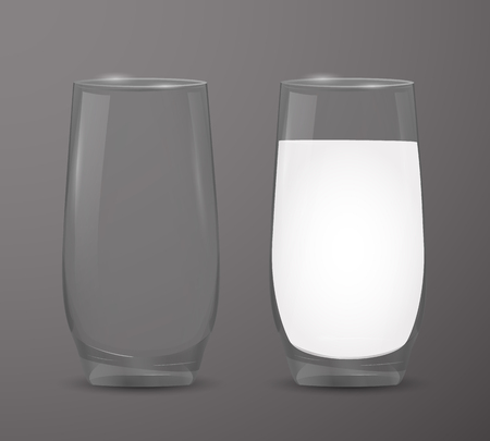 Two transparent cups: empty glass and a glass of milk