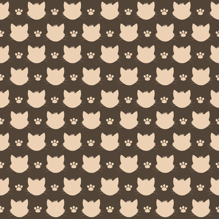 Seamless pattern with cat and footprint