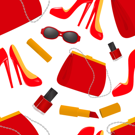Seamless pattern handbag shoes sunglasses lipstick and nail polish