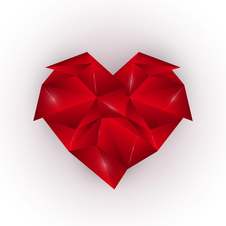 Abstract red polygonal heart on a white background. Elegant design element template. Happy Valentines Day. Vector illustration.